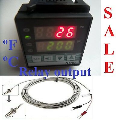 Dual Digital PID Temperature Controller Kiln Oven °C°F + Thermocouple Small Size