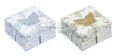 Wedding Table Trivia Set - 4 Boxes -Silver & White/Gold & Ivory -Icebreaker Game