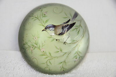VINTAGE REVERSE HAND PAINTED GLASS PAPERWEIGHT BIRD IN TREE W/ FLOWERS