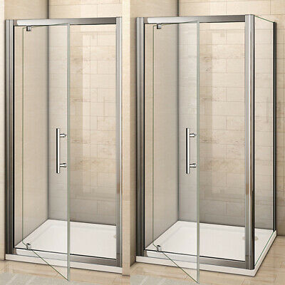 Shower Enclosure Pivot Glass Door Walk in Cubicle Screen Side Panel Stone Tray