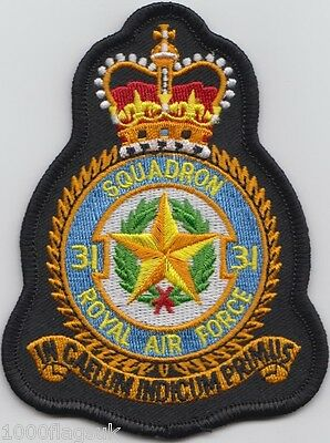 RAF no. 31 Squadron Royal Air Force Embroidered Crest Badge Patch MOD Approved