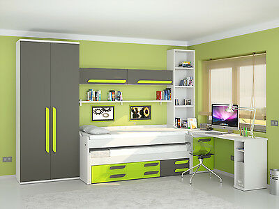 8 tlg kinderzimmer jugendzimmer komplett mit 2x bett schrank schreibtisch uvm. Black Bedroom Furniture Sets. Home Design Ideas