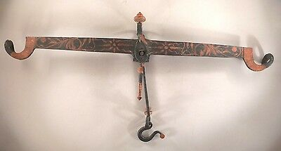 """Hand-Forged Iron Hanging Scale - Hand Decorated -- circa 1830 -- 26"""" wide"""