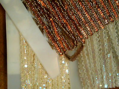 "Beaded 1/4"" PETITE TRIM Bridal Doll SEQUINS PEARLS 1yd"