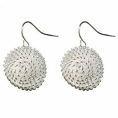 Silver plated dandelion charm stud / dangle earrings 60s retro