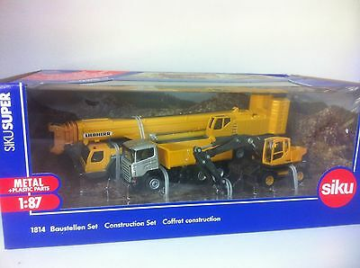 Siku 1814 - Construction Site with Liebherr Crane - H0 Scale 1:87, Wiking, Herpa