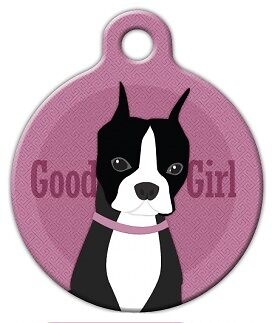 GOOD GIRL - BOSTON TERRIER - Custom Personalized Pet ID Tag for Dog Cat Collars
