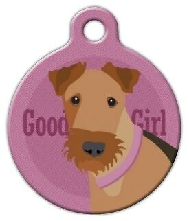 GOOD GIRL AIREDALE - Custom Personalized Pet ID Tag for Dog and Cat Collars