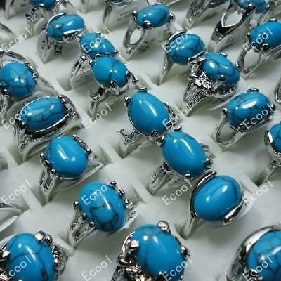 wholesale lots jewelry 10pcs fashion silver plated Turquoise rings free shipping