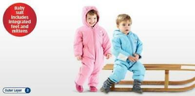 Baby Boy Or Girl Snowsuit Warm Winter Padded Lined Blue & Pink Hooded Pram Suit