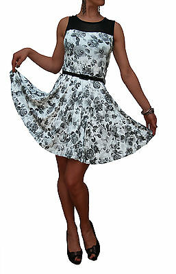 Ladies New Floral Vintage Retro Style Rockabilly Swing Dress White Uk 8 10 12 14
