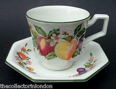 TWO Discontinued Johnson Brothers Fresh Fruit Pattern Tea Cups & Saucers in VGC