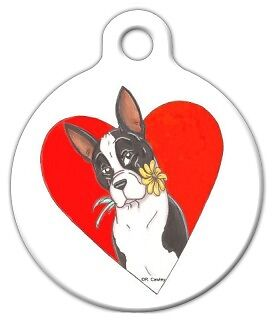 SPRING LOVE BOSTON TERRIER - Custom Personalized Pet ID Tag for Dog Collars