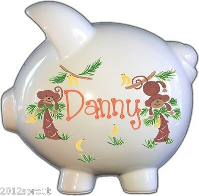 Personalized Piggy Bank | White | Large| Hand-Painted | Piggy Bank