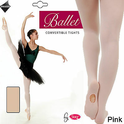 Pink Ballet Tights CONVERTIBLE Foot Dance Dancewear Transition Tights By Silky