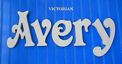 """Wood Wall Letters 8"""" size Unpainted Wooden Decor Child Nursery Name Victorian"""