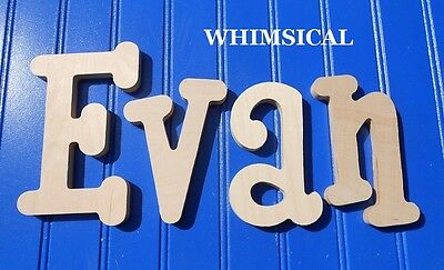 """8"""" size Unpainted Wooden Wall Letters Children Nursery Playroom Names Whimsical"""