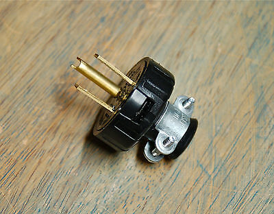 3 Prong Electrical Plug w/ Cord Clamp - Grounded Industrial Vintage Style Rewire