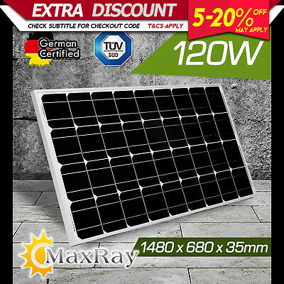 NEW MaxRay 120W 12V SOLAR SINGLE PANEL KIT CAMPING POWER SOURCE CHARGE