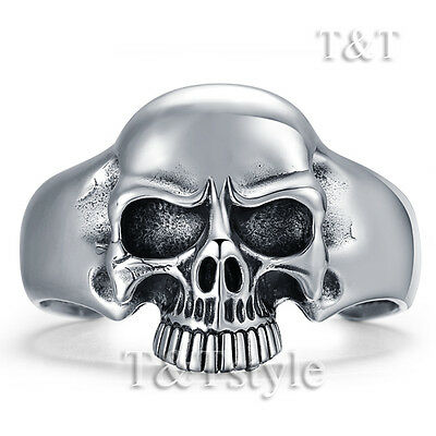 Top Quality T&T 316L Stainless Steel Skull Cuff Bangle (BS51)