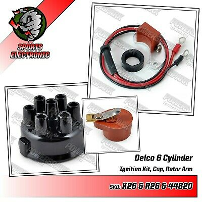 Delco 6 Cylinder Electronic Ignition Kit Distributor Cap & Rotor Arm Powerspark