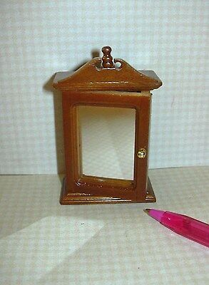 Miniature Walnut Medicine Cabinet w/Mirror: DOLLHOUSE Miniatures 1:12 Scale