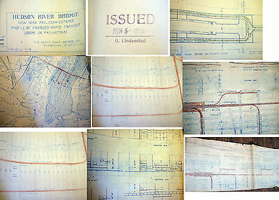 1924 Hudson River Bridge Approach Plans Gustav Lindenthal Chief Engineer