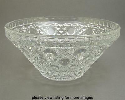 Large Vintage Pressed Glass Serving or Salad Bowl Button & Star w/ Daisy Design