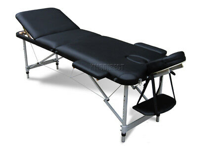Light Weight Portable Massage Table Beauty Bed 3 Section ALU + Cover Bag Black
