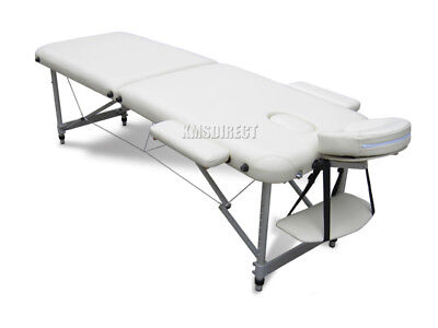 Light Weight Portable Massage Table Beauty Bed 2 Section ALU + Cover Bag Beige