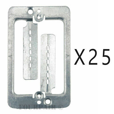 25 Pack Lot - Single Gang Low Voltage Wall Plate Steel Drywall Mounting Bracket