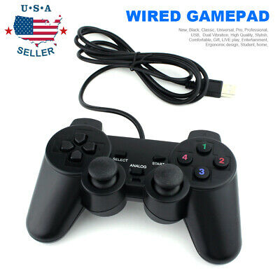 Black USB Dual Shock PC Computer Wired Gamepad Game Controller Joystick USA