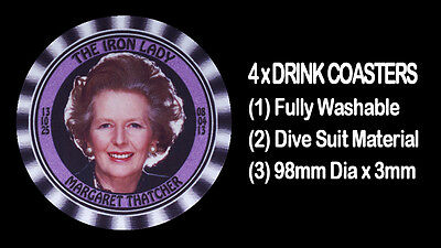 4  x MARGARET THATCHER - THE IRON LADY -  DRINK COASTERS, Fully Washable