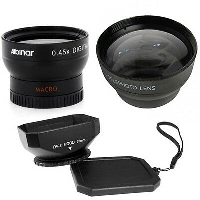 37mm Wide Telephoto Lens Kit with Lens Hood for Sony Handycam CCD TRV87E, TRV138