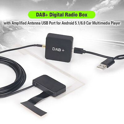 DAB+ Digital Radio Box MCX Amplified Antenna for Android 5.1/6.0 Car Stereo 354M