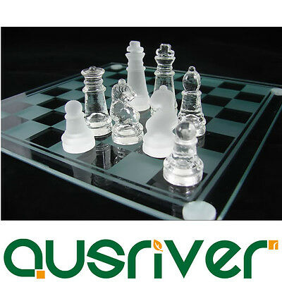 Elegant Solid Glass Board Chess Game Set  20*20CM