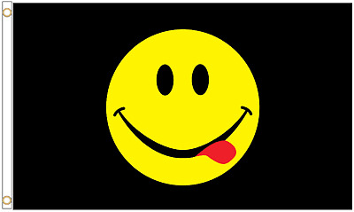 Acid House Smiley Face Black Emoji 5'x3' Flag