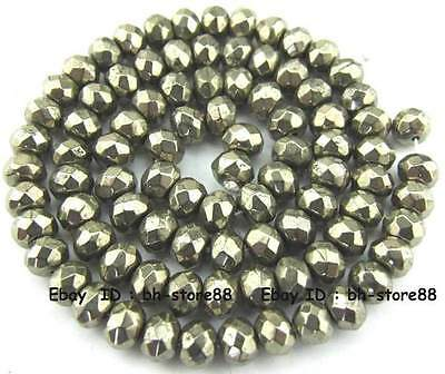 100% Natural 5x8mm Pyrite Rondelle Faceted Loose Beads 15''
