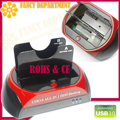 "DUAL 3.5"" 2.5"" IDE SATA HDD Hard Drive Disk Docking Dock Station Hub Card Reader"