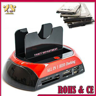"NEW 3.5"" 2.5"" SATA + IDE HDD HARD DRIVE DISK DOCK DOCKING STATION + Card Reader"