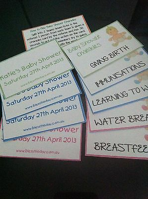Baby Shower Game - Baby Charades - PERSONALISED - 20 Guests
