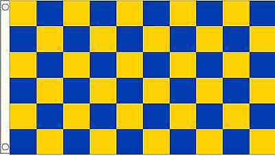 Blue and Yellow Checkered Check 5'x3' Flag