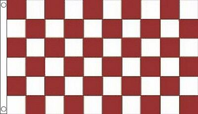 Maroon and White Checkered Check 5'x3' Flag