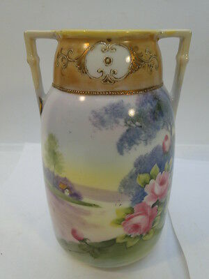 VINTAGE NIPPON VASE HAND PAINTED PINK ROSES GREEN MARK GOLD MADE IN JAPAN