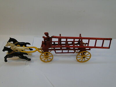 VINTAGE KENTON CAST IRON TOY FIRE TRUCK w HORSES HORSE DRAWN WAGON w LADDER