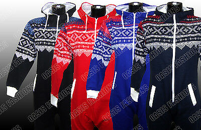 Kids Boys Girls Aztec & Plain Hooded Onsie All In One Jumpsuit Sizes 2-14