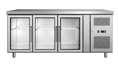 FRIDGE Commercial Three Glass Door / Refrigerated Prep Counter Table Saladette