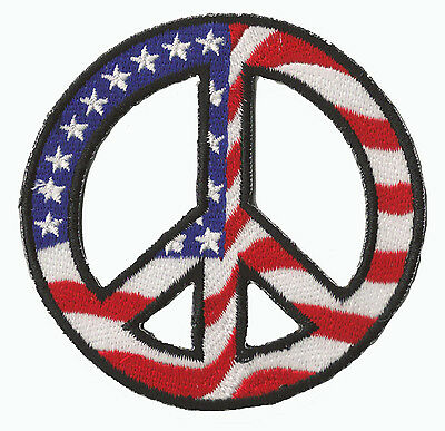 Ecusson patche Peace & Love USA thermocollant patch US brodé woodstock