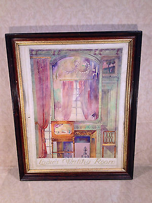 Grace Sellers Watercolor Painting Ladies Writing Room Early 60s Interior Design? • CAD $236.44