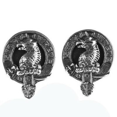 Mens Scottish Made MacNicol Clan Crested Boxed Silver Cufflinks by Art Pewter
